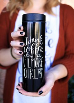 """My most popular design is now available in an amazing, stainless steel travel mug! It is temporarily out of stock, because y'all loved this item so much! More are on the way and will be shipped to you as soon as they come in! About/Inspo: For all you Gilmore Girls fans - this one is for you! If you've ever seen the show, you know that a subtle theme throughout all the seasons is how much coffee is consumed by both Lorelai Gilmore's. Specs: This """"I Drink Coffee Like A Gilmore Girl"""" togo…"""