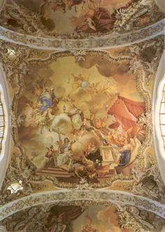 < 1800. Plafondschildering. Duitsland, Steingaden. Norbertus in de hemel opgenomen.