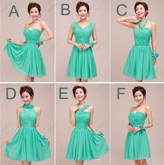 Example of different styles that would go together.  I know the color is off.  Green Short Knee-length Bridesmaid Dresses,Short Prom Dresses