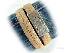 Damen Kork Leder Armband Wickelarmband natur von elfenstuebchen