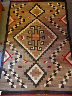 Antique C1915 Jb Moore Navajo Crystal Rug Blanket 51 X 77
