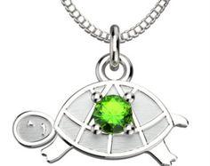 Silver turtle necklace c green gemstone