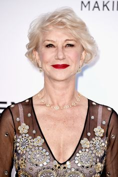 Helen Mirren Curled Out Bob - Helen Mirren styled her short hair into a curled-out bob for the amfAR Cinema Against AIDS Gala.