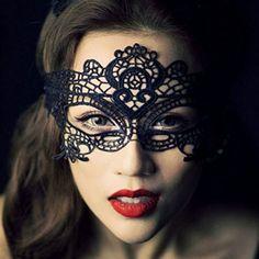 Demarkt En Dentelle Noire Sexy Masque Masque de Dentelle Noir pour les Yeux pour Mascarade Fête Costumée