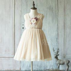 2016 Beige Junior Bridesmaid Dress, Square neck Ruched Flower Girl Dress, Rosette dress, Puffy dress, knee length (JK009)