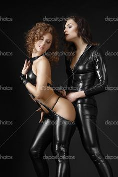 Download - Two Lesbians Girls in Bdsm Costumes Flirting. Passion & Temptati — Stock Image #36012183