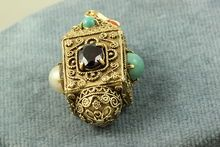 14K Etruscan Charm with Turquoise, Coral, Pearl, Sapphire and Ruby.