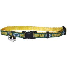 Pets First Green Bay Packers Cat Collar by Pets First. $14.25. NFL logo adjustable cat collar. One size fits most cats. Adjustable collar from 8 inches to 12 inches. Nylon web cat collar with your favorite NFL team name and logo  and logotype contrast color woven ribbon. It is designed to fit most cats, as it easily adjusts . You will know that your cat is coming and going by the jingle bell. For safety, the collar has a breakaway lock to protect your pet.