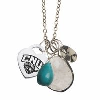 """This wire wrapped sterling silver, turquoise and rutilated quartz necklace is a great way to show your style and school spirit at the same time. This beautiful drop style necklace hangs from our high quality cable link chain and is designed for everyday wear.Metal: Sterling SilverChain Length: 16"""" with a 2"""" extenderShipping: FreeOfficially Licensed: Yes""""the indicia featured on this product is a protected trademark owned by Christopher Newport University"""""""
