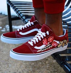 41bd0bd6883e Custom Vans Rose Vans custom vans shoes vans custom rose