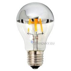Luxon Led Bulb with Mirror Medium base, Half Chrome Siliver A Shape Bulb, Energy Saving Warm White Incandescent Bulbs, Edison Bulbs, Chrome Finish, Save Energy, Light Bulb, Led, Mirror, Lighting, Base