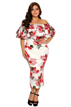 eded33e1690b White Floral Layered Ruffle Off Shoulder Midi Dress
