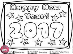 Teachers Pay TeachersNew Year Music Coloring.  Great Color by Note for New Years Music Lesson