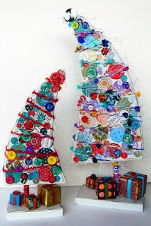 We could do something like this with cardboard/posterboard..something like that to make our leaning Grinch tree and then glue or cut out ornament type things and put it on the wall..