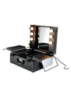 masami shouko black leather makeup case with dimmer lights