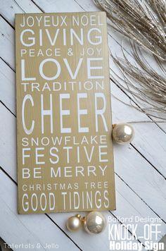 Ballard Designs Christmas Holiday Sign Knock-off