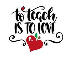 Create your DIY projects using your Cricut Explore, Silhouette and more. The free cut files include SVG, DXF, EPS and PNG files. Teacher Valentine, Teacher Shirts, Teacher Stuff, Student Teacher, Teacher Logo, Teacher Treats, School Shirts, Teacher Appreciation Week, Love Stickers