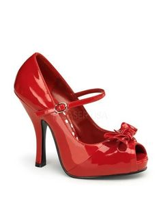 770314fc6ab Pin Up Couture Cutiepie 08 Red Patent Mini Concealed Platform Sexy Mid Heel  Peep-Toe Mary-Jane Court Shoe with Bow. Women s Sexy Shoes