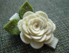 Felt Flower Hair Clip - Rose Collection - Cream. $5.00, via Etsy.