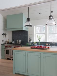 Ideal Decorating Farmhouse Kitchen With White And Light Green Farrow And Ball Kitchen Paint Color Also Modern Stainless Cooker With Comely Exhaust Hood Box Also