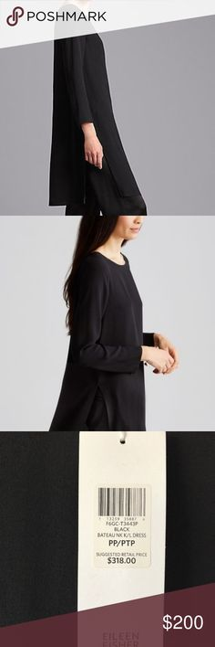 EILEEN FISHER ~ BLACK K//L Straight Eco Poly,Silk Skirt Retail $198 NWT