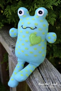 Handmade Sock Toad, Stuffed Animal Sock Doll Art Toy, Hug Me Toad, Personalized Hang Tag, Turquoise, Green, Polka Dots, 10 inch, Ready-made. $26.00, via Etsy.