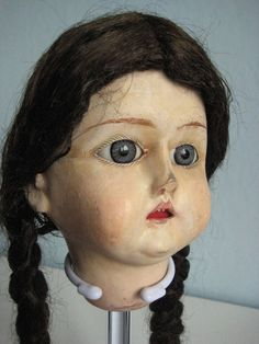 "ANTIQUE WOODEN DOLL HEAD ""BEBE TOUT EN BOIS"""