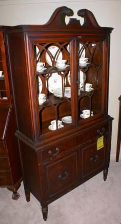 Antique mahogany china cabinetAntique bubble glass china cabinet   Furniture   Pinterest   China  . Antique Dining Room China Cabinets. Home Design Ideas