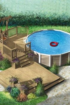 Above Ground Pool Landscaping, Above Ground Pool Decks, Backyard Pool Landscaping, Above Ground Swimming Pools, Backyard Patio Designs, Swimming Pool Heaters, Swimming Pools Backyard, Pool Spa, Swimming Pool Designs