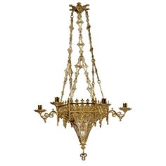 Gothic Revival Hexagonal 6-Light Chandelier | From a unique collection of antique and modern chandeliers and pendants at https://www.1stdibs.com/furniture/lighting/chandeliers-pendant-lights/