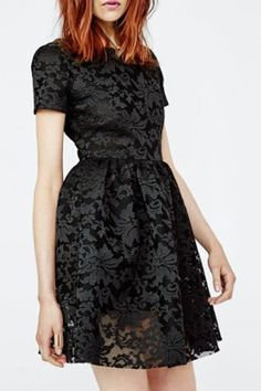 Chic Round Neck Short Sleeve Solid Color Women's Lace Dress