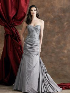 Iridescent Taffeta Sweetheart Strapless Mermaid Mother Bride Dress