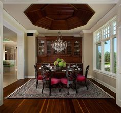 Awesome built in's, great ceiling and I love the chairs.