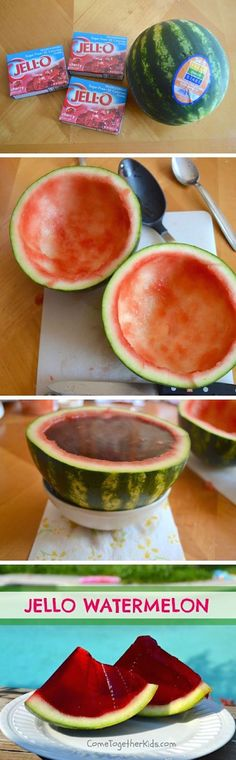 Scoop out a watermelon and pour Jello inside! Refrigerate it and then slice it up. So fun!