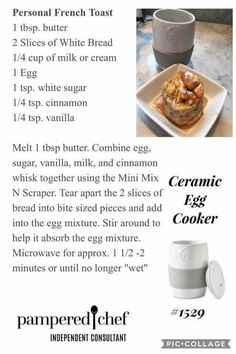 French toast in Pampered Chef egg cooker Rockcrok Recipes, Mug Recipes, Baker Recipes, Microwave Recipes, Cooking Recipes, Recipies, Yummy Recipes, Slow Cooking, Cooking Tips