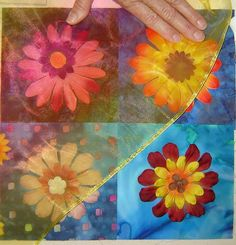 Layer quilt using silk flowers with mesh fabric over stitched. Many things could be made with this! Boho heaven!