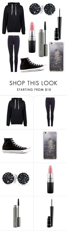 """Black⚫"" by dydydyav ❤ liked on Polyvore featuring Boohoo, 7 For All Mankind, Converse, Skinnydip, Bling Jewelry and MAC Cosmetics"