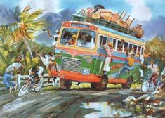 'Junction Bus' - Herbie Rose, Jamaican born Artist considered to be intuitive due to his use of bright colors. His highly collectible work hangs in many galleries. Barbados, Rastafarian Culture, Jamaican Art, Bus Art, Visit Jamaica, Bradenton Florida, Three Little Birds, Caribbean Art, Life Paint