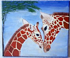 'Mother Love' by Kay Crago of Stormbird Art Studio. Handpainted Giraffe with her baby using acrylic paints on a deep edge canvas. https://folksy.com/shops/StormbirdArt