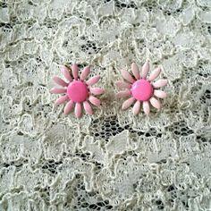 """Vintage Enamel Daisy Earrings Lovely little pink 60s daisies! Measures 1"""". Jewelry Earrings"""