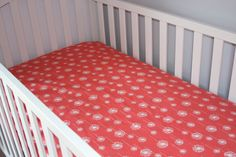 Crib Sheet Made to Order Coral Dandelion by BabyCarSeatCovers, $42.00