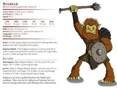 A classic D&D monster described as large hairy goblin giants, with a knack for sneaking up on people. Gary Gygax, Old English Words, Dungeon Master's Guide, Dungeons And Dragons Homebrew, Dnd Monsters, Hobgoblin, Sneaks Up, Game, Forests
