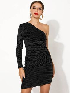 To find out about the Missord One Shoulder Sequin Bodycon Dress at SHEIN, part of our latest Dresses ready to shop online today! Hot Dress, Dress P, Dress Outfits, Party Dress, One Sleeve Dress, Bodycon Dress With Sleeves, Sleeve Dresses, Sexy Dresses, Short Dresses