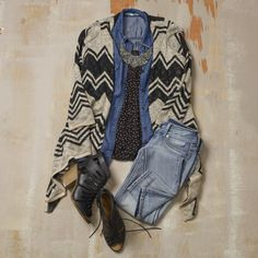 Layer it up for fall! Add a denim top, and a cardiwrap.