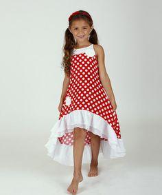 Loving this Red & White Polka Dot Hi-Low Dress - Toddler & Girls on #zulily! #zulilyfinds