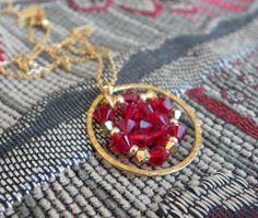 Jewelry Pendant necklace swarovski Red by lizaluksenberg on Etsy, $45.00