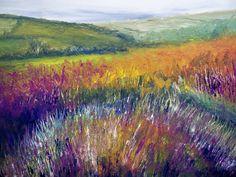 Original Landscape Acylic Painting On Canvas. Hillside Heather. Impressionist art.