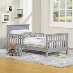 Baby Relax Haven Toddler Bed, Gray from Walmart. Just needs a Seahawks blankie to go with it.