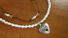 Pretty Heart, Pearl, Leather, and Sterling Silver Necklace by PataSilverDesign