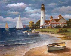Thomas Kinkade - The Painter of Light Thomas Kinkade Art, Thomas Kincaid, Kinkade Paintings, Art Du Monde, Art Thomas, Lighthouse Painting, Sailboat Painting, Lighthouse Pictures, Tile Murals